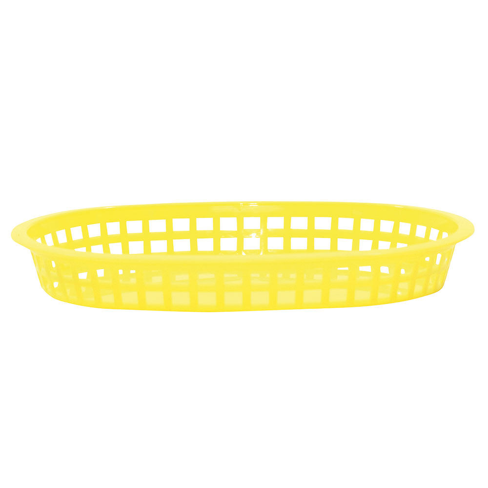 "Tablecraft 1076Y Chicago Platter Basket, 10.5 x 7 x 1.5"", Oval, Yellow"