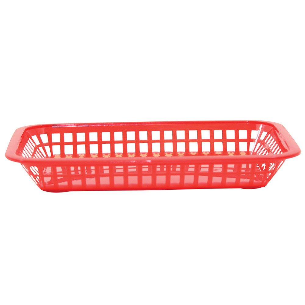 Tablecraft 1077R Platter Basket, 10-3/4 x 7-3/4 x 1-1/2 in, Rectangular, Red