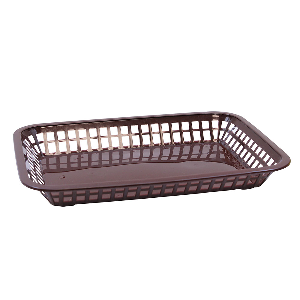 "Tablecraft 1079BR Platter Basket, 11.75 x 8.5 x 1.5"", Rectangular, Brown"