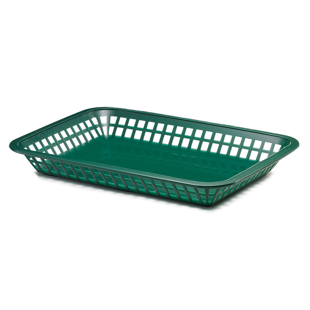 Tablecraft 1079FG Platter Basket, 11.75 x 8.5 x 1.5-in, Rectangular, Forest Green