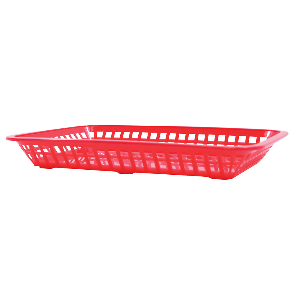 "Tablecraft 1079R Platter Basket, 11.75 x 8.5 x 1.5"", Rectangular, Red"