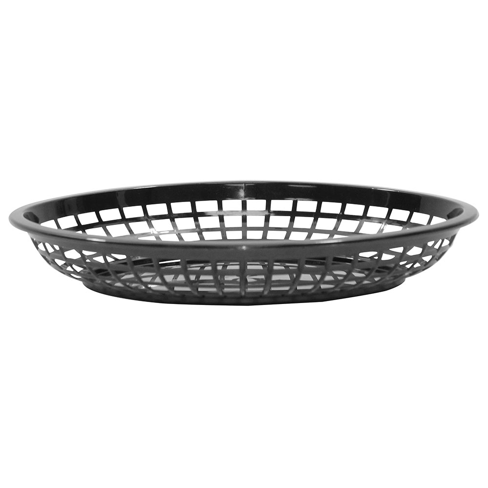 Tablecraft 1084BK Jumbo Basket, 11.75 x 8-7/8 x 1-7/8-in, Oval, Black