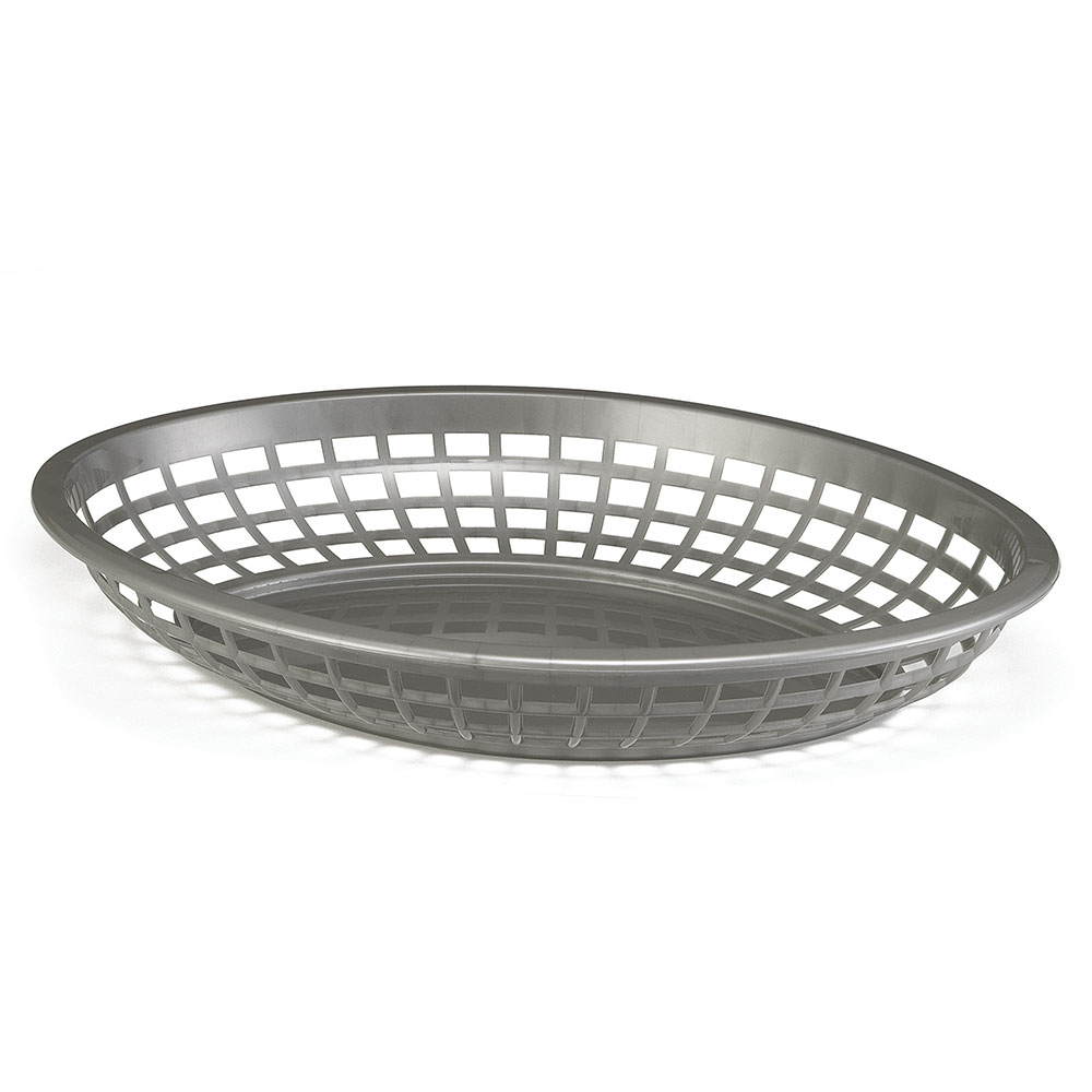 Tablecraft 1084GM Jumbo Oval Basket, 11.75 x 8-7/8 x 1-7/8-in, Poly, Gunmetal