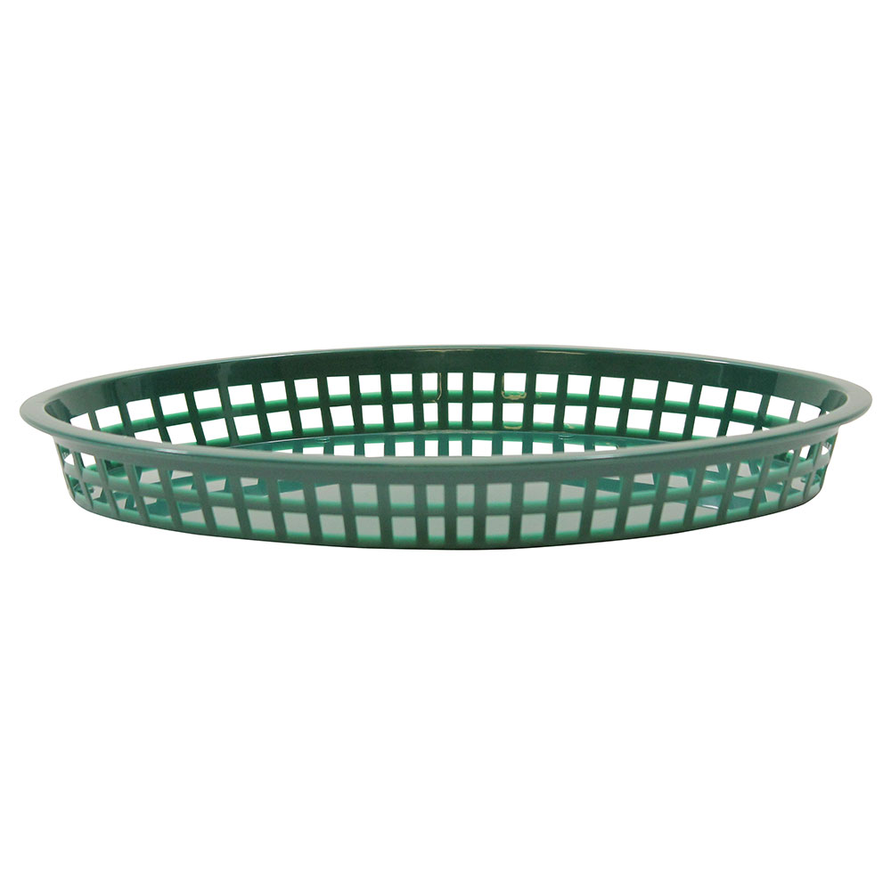 Tablecraft 1086FG Texas Platter Basket, 12.75 x 9.5 x 1.5-in Oval, Forest Green