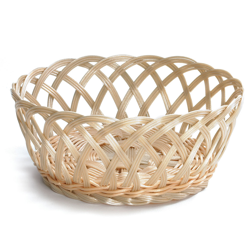 "Tablecraft 1135W 8.5"" Round Hand-Woven Basket - Polypropylene, Natural"