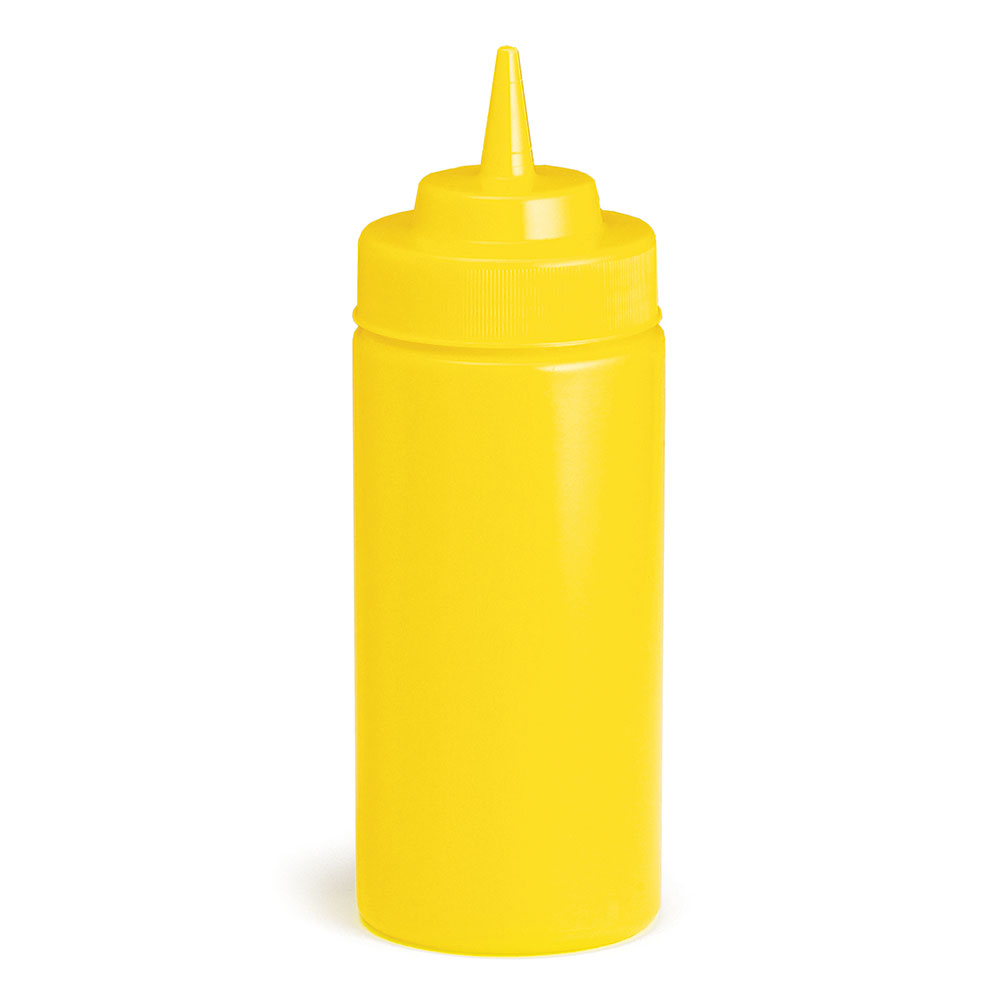Tablecraft 11663M Wide Mouth Squeeze Dispenser, 16 oz., Soft Polyethylene, Mustard