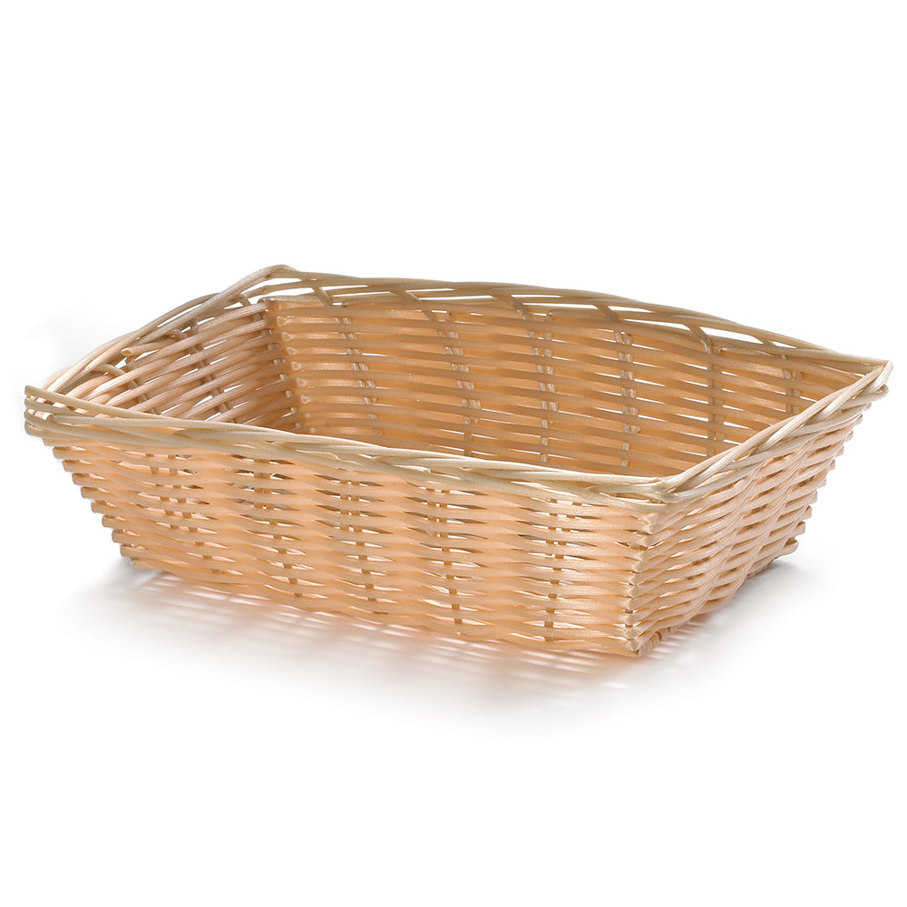 "Tablecraft 1172W Handwoven Basket, 9"" x 6"" x 2.5"", Rectangular, Natural"