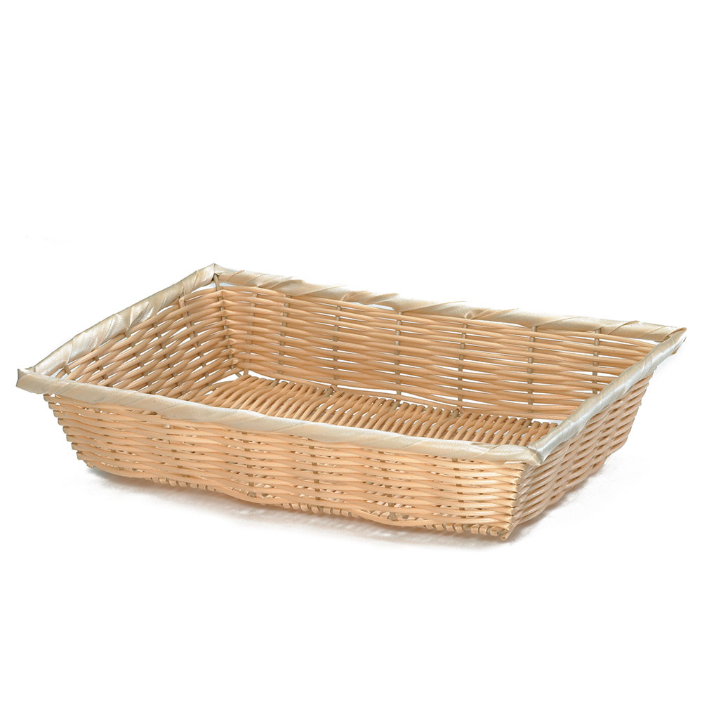 "Tablecraft 1188W Handwoven Basket, 14 x 10 x 3"", Polypropylene Cord, Natural"