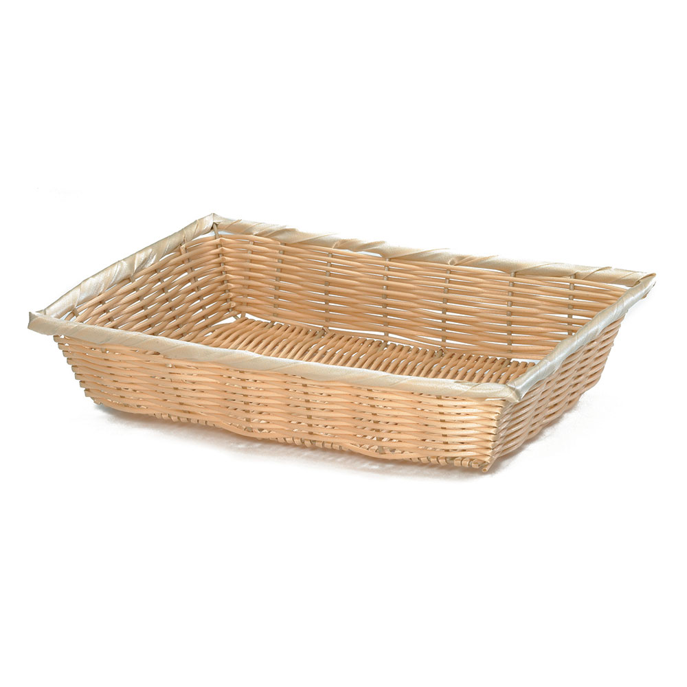 "Tablecraft 1189W Handwoven Basket, 16 x 11-1/4 x 3"", Polypropylene Cord, Natural"