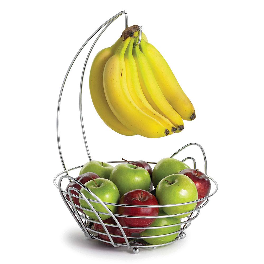 Tablecraft 12RR Round Fruit/Banana Basket - Banana Hanger, Stainless