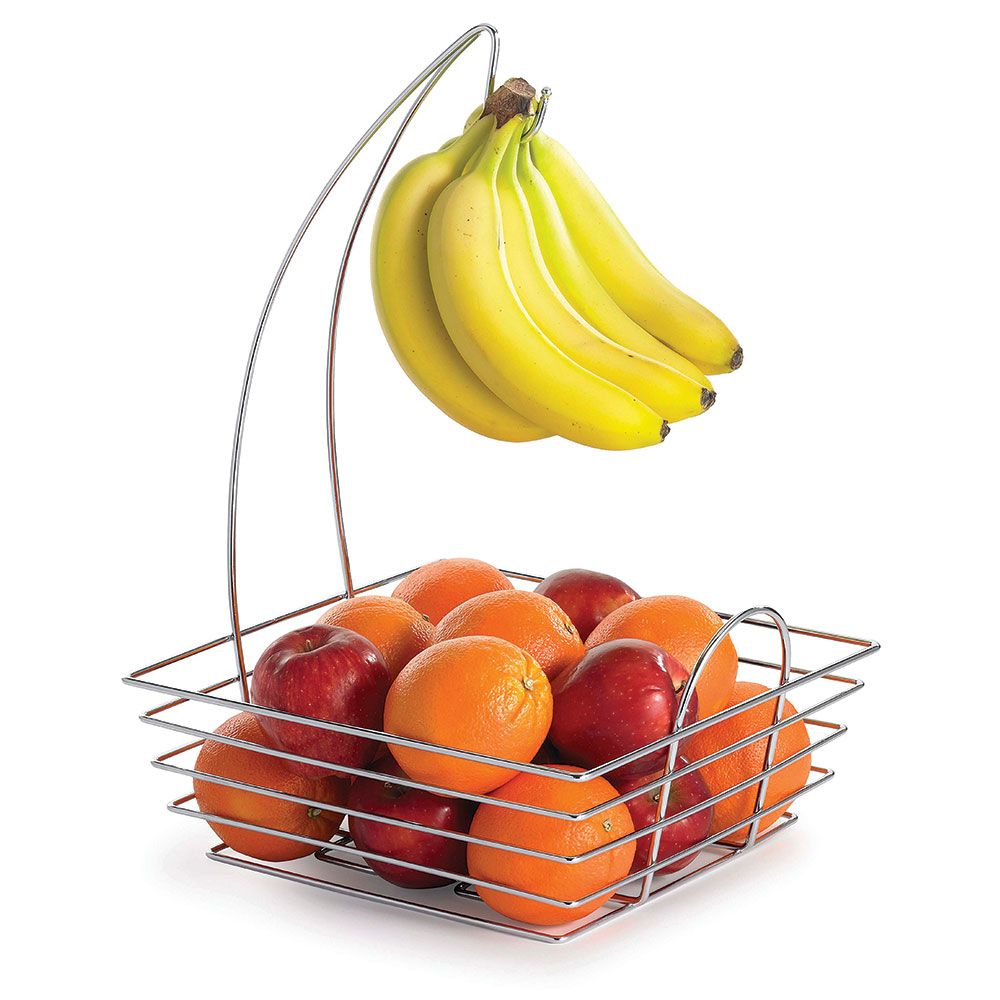 Tablecraft 12SR Square Fruit/Banana Basket - Banana Hanger, Stainless