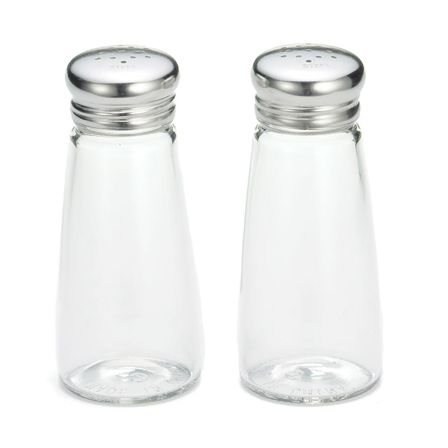 Tablecraft 132S&P 3-oz Round Glass Salt/Pepper Shakers x/ Stainless Steel Tops