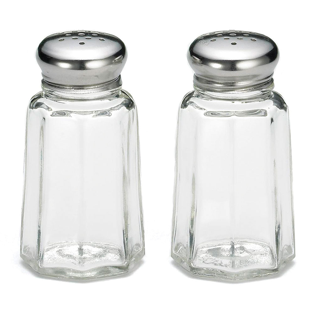 Tablecraft 150S&P 1-oz Salt Pepper Shaker, Paneled Glass, Stainless Top