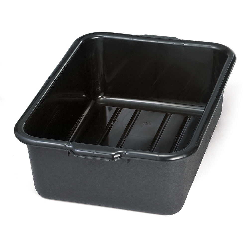 Tablecraft 1537B Bus Tote Box, 7-in Deep, Stackable, Reinforced Handles, Black