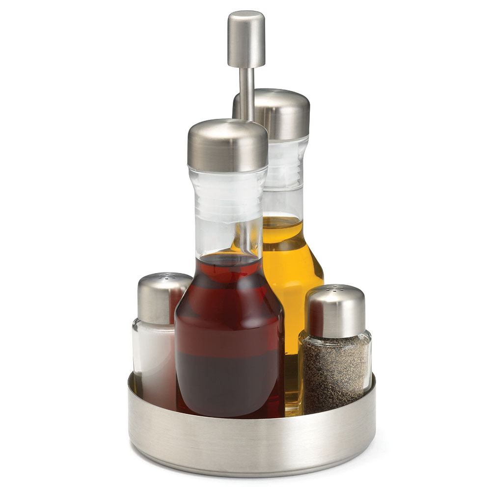 Tablecraft 153N 5-Piece Condiment Set - Brushed Stainless