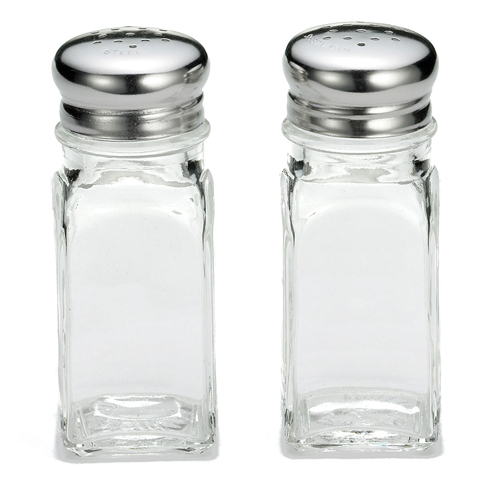 Tablecraft 154S&P-2 2-oz Square Glass Salt & Pepper Shaker w/ Stainless Top