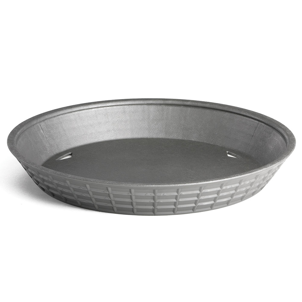 "Tablecraft 157510GM 10-1/2"" Round Platter Basket with Base - Polypropylene, Gunmetal"