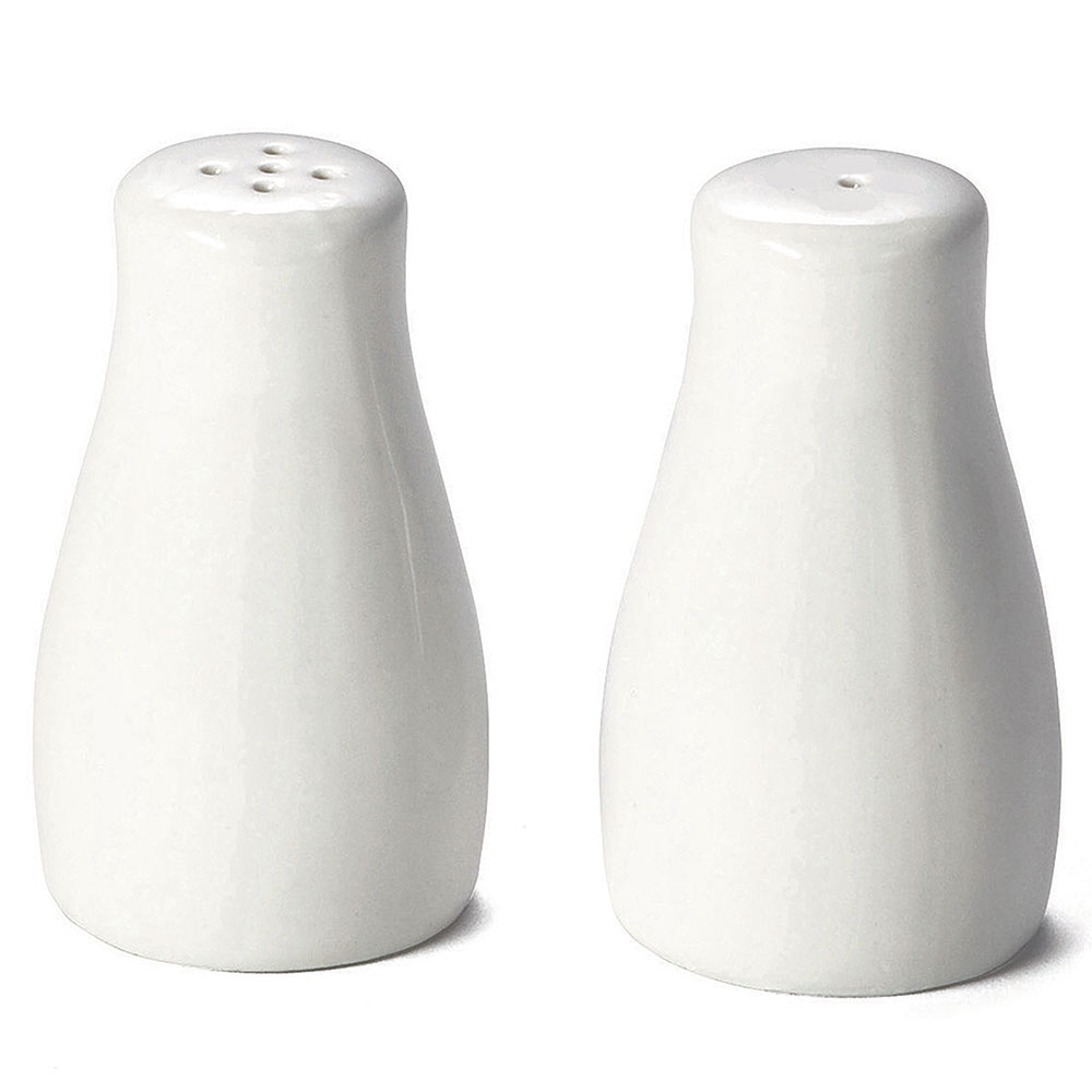 Tablecraft 160 Round Glacier Collection Porcelain Salt & Pepper Shakers, 2 oz Capacity, White