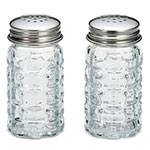 "Tablecraft 163S&P-2 4"" Salt/Pepper Shaker w/ Metal Lid, Round"