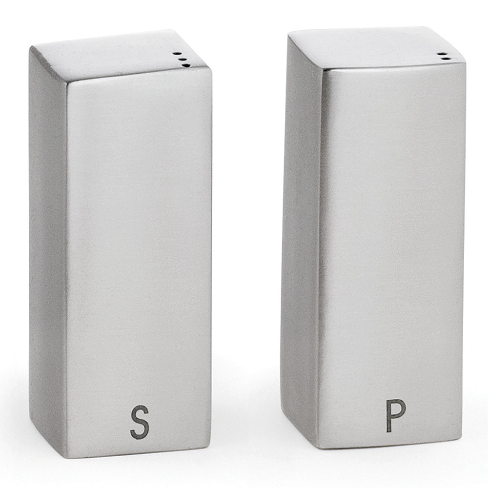 Tablecraft 167 Square Salt Pepper Shaker Set, 1.5-oz, Stainless Steel
