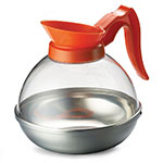 Tablecraft 19 64-oz Coffee Decanter, Poly w/ Stainless Base, Orange Handle