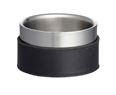"Tablecraft 2020 5"" Wine Coaster - Stainless & Black Leather"