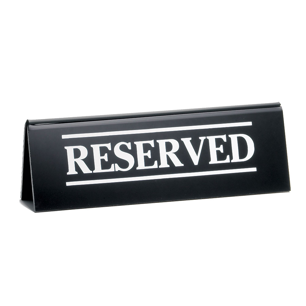"Tablecraft 2060A ""Reserved"" Table Tent Sign - 2"" x 6"", Black/White"