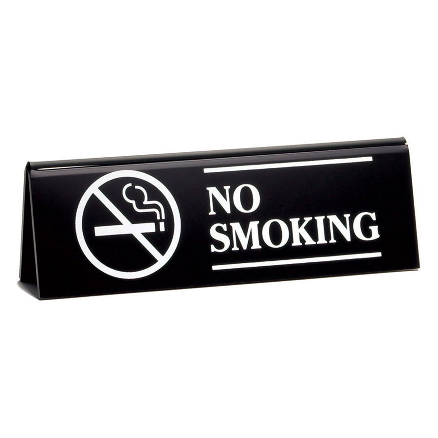 "Tablecraft 2060B ""No Smoking"" Table Tent Sign - 2"" x 6"", Black"