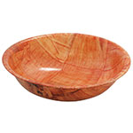 "Tablecraft 218W 18"" Woven Wood Salad Bowl, Mahogany, Round Bottom, 5-Ply"
