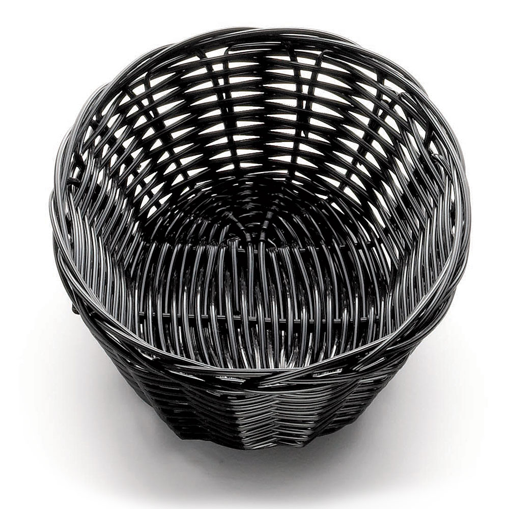 "Tablecraft 2471 Handwoven Basket, 7 x 5 x 2"", Polypropylene Cord, Oval, Black"