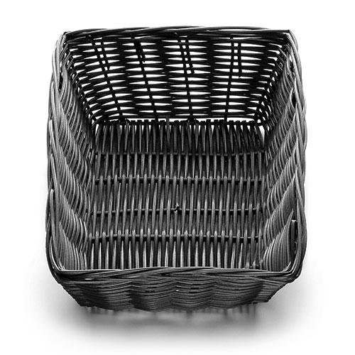 "Tablecraft 2472 Handwoven Basket 9 x 6 x 2-1/2"" Polypropylene Cord, Rectangular , Black"