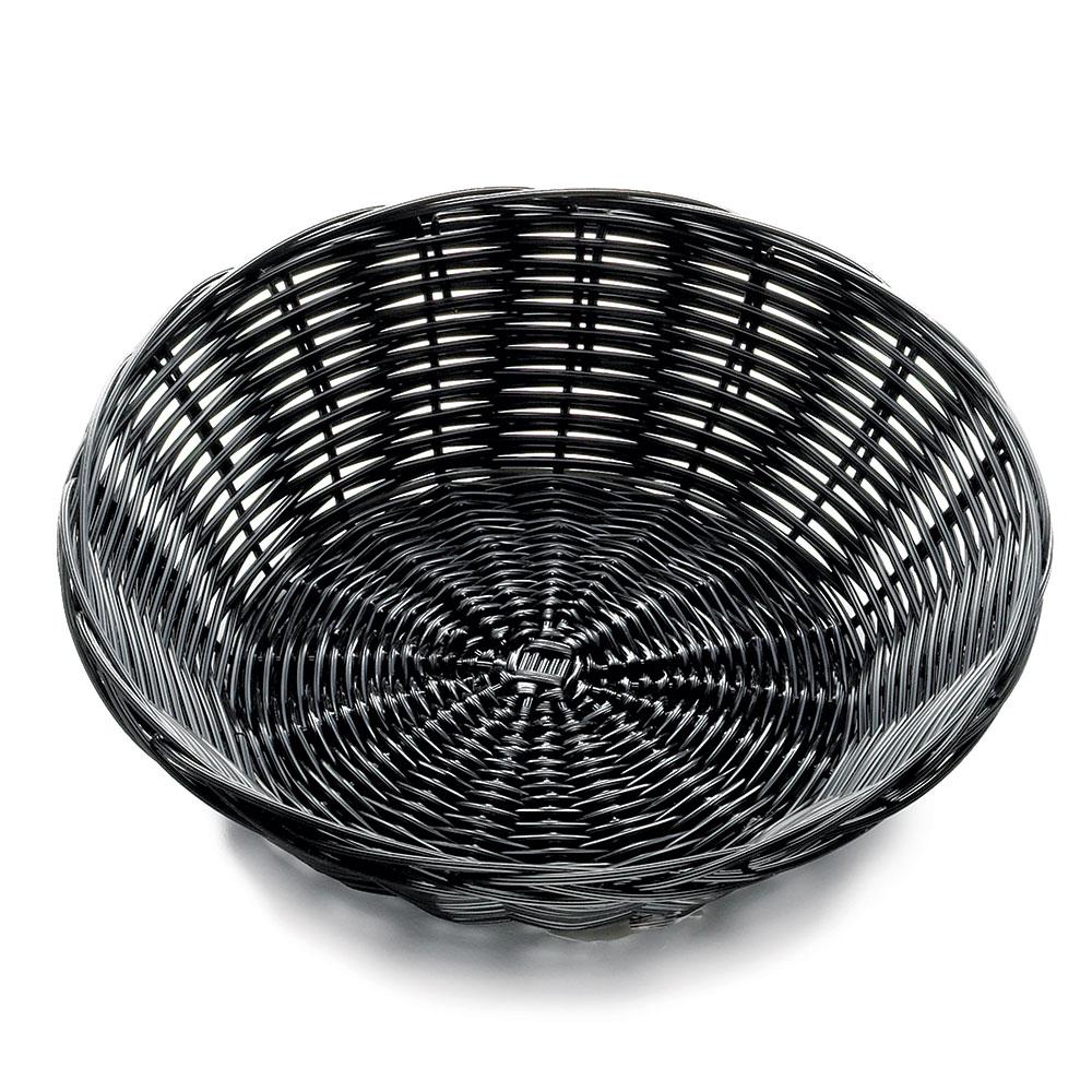 "Tablecraft 2475 Handwoven Basket 8-1/2 x 2-1/4"", Polypropylene Cord, Oval, Black"