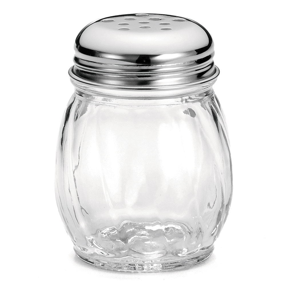 Tablecraft 260 Cheese Shaker, 6 oz, Swirled Glass, Chrome Plated Perforated Top, Dozen
