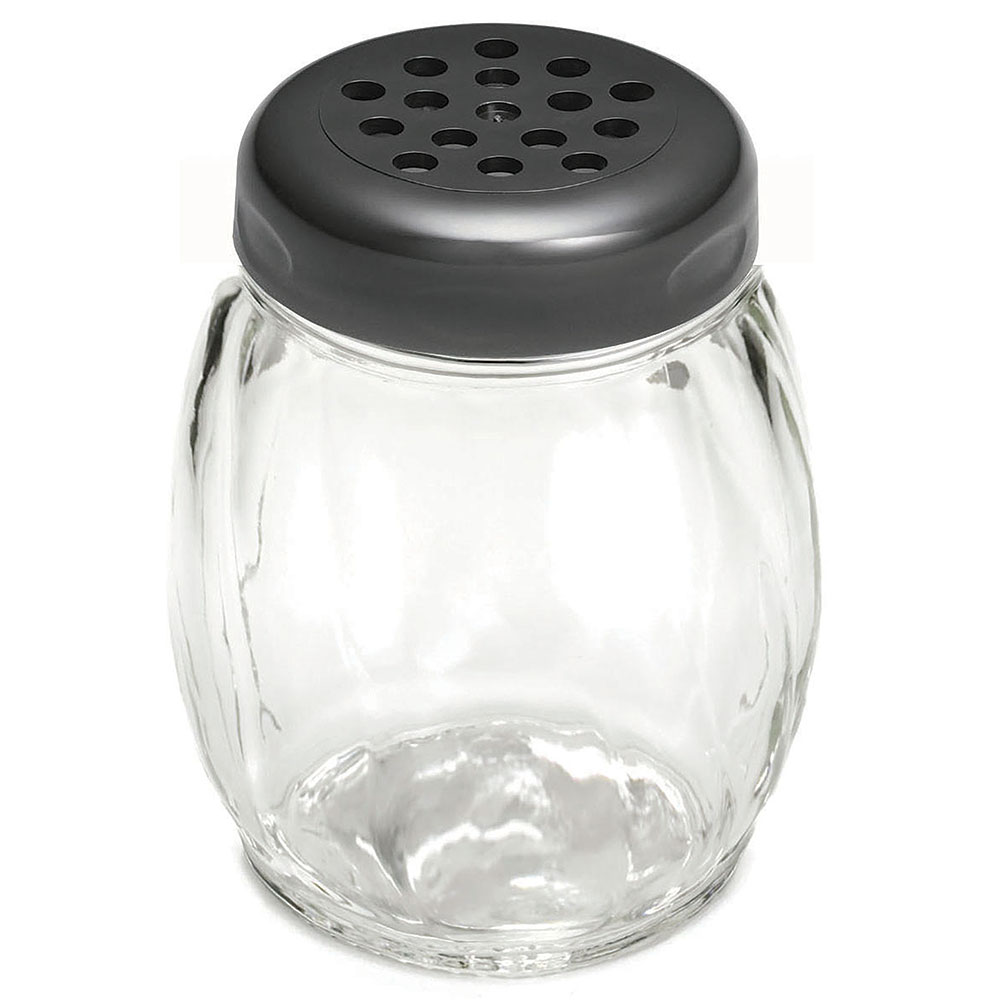 Tablecraft 260BK 6-oz Swirl Glass Shaker w/ Perforated Plastic Top, Black