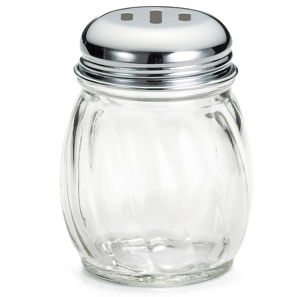 Tablecraft 260SL 6-oz Cheese Shaker, Swirled Glass, Chrome Plated
