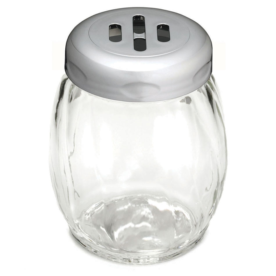 Tablecraft 260SLCH 6-oz Swirl Glass Shaker w/ Slotted Plastic Top, Chrome Plate