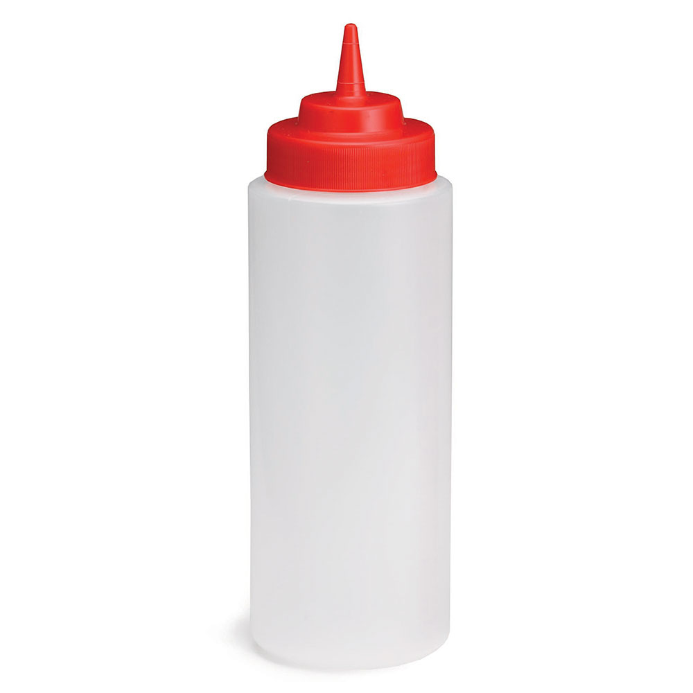 Tablecraft 3263K 32-oz Wide Mouth Squeeze Dispenser, Polyethylene, Red Top, Natural