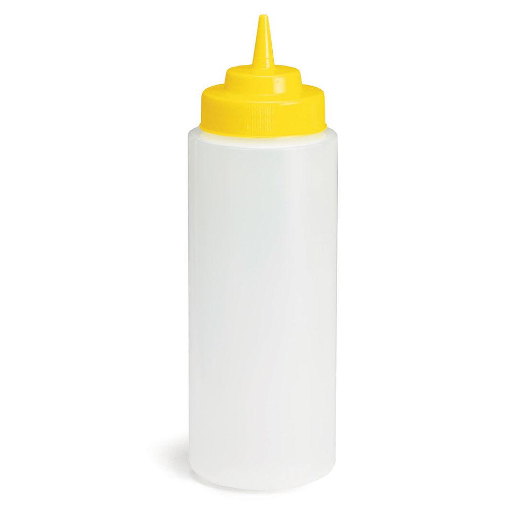 Tablecraft 3263M 32-oz Squeeze Dispenser, Polyethylene, Yellow Top, Natural