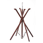 "Tablecraft 335W 35"" Folding Tray Stand w/ Rubber Grips, Mahogany Wood"