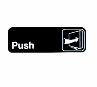 Tablecraft 394502 3 x 9-in Sign, Push, White On Black, Adhesive Back
