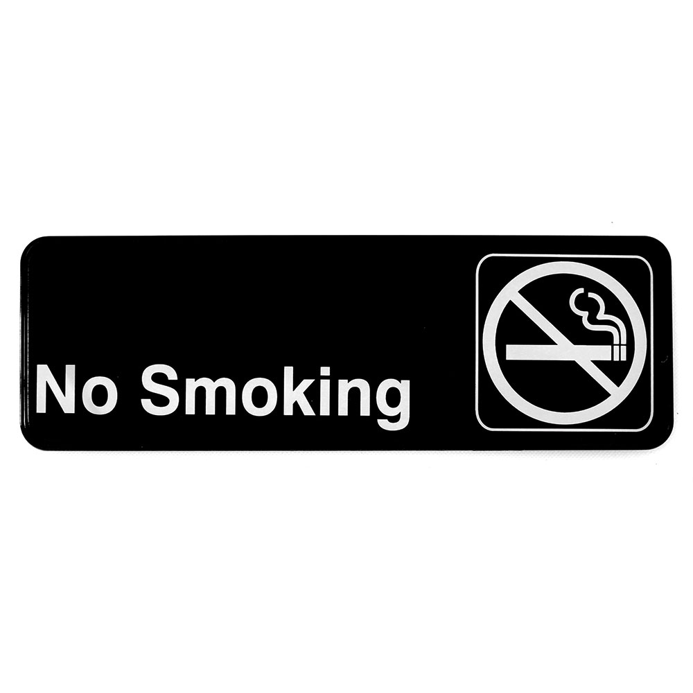 "Tablecraft 394513 3 x 9"" Sign, No Smoking, Adhesive Back"