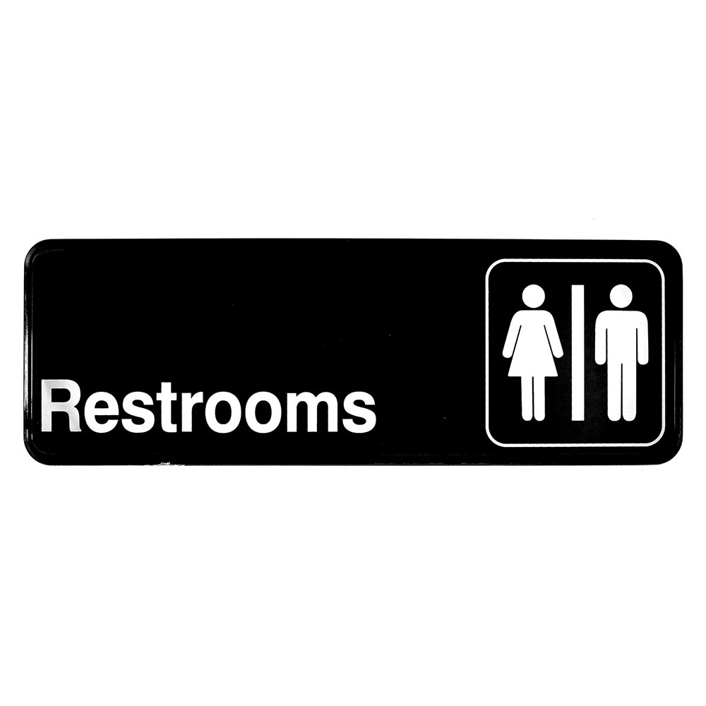 Tablecraft 394517 3 x 9-in Sign, Restrooms, Adhesive Back