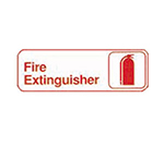 Tablecraft 394518 3 x 9-in Sign, Fire Extinguisher, Red on White, Adhesive Back