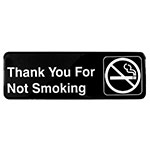 "Tablecraft 394521 3 x 9"" Sign, Thank You for Not Smoking, Adhesive Back"