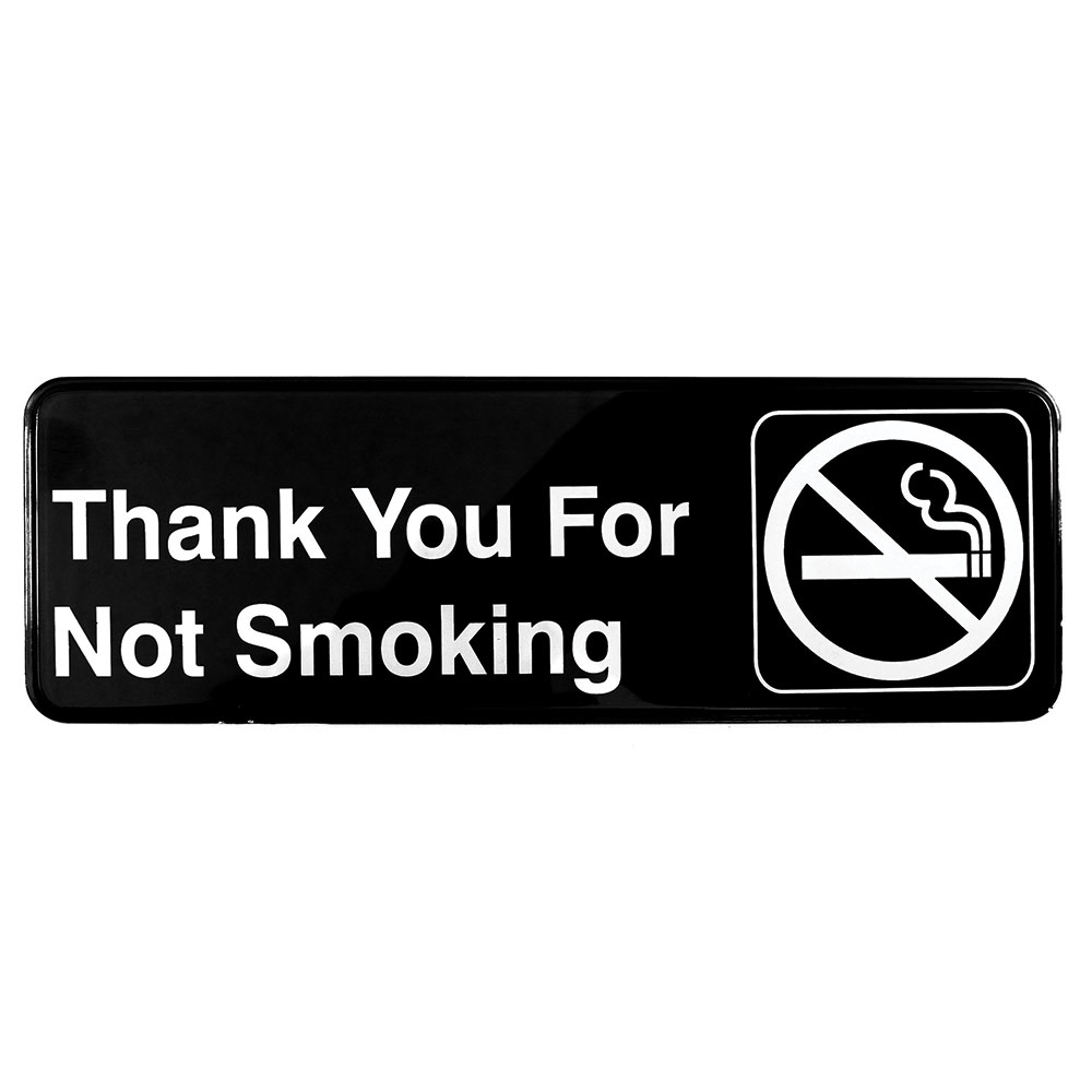 Tablecraft 394521 3 x 9-in Sign, Thank You For Not Smoking, Adhesive Back