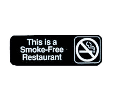 "Tablecraft 394524 3 x 9"" Sign, This Is A Smoke-Free Restaurant, Adhesive Back"