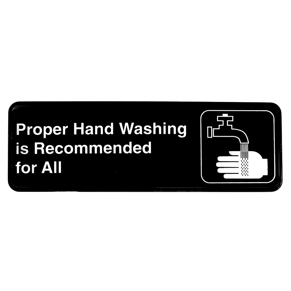 "Tablecraft 394550 3 x 9"" Sign, Proper Hand Washing is Recommended for All"