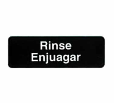 Tablecraft 394552 3 x 9-in Sign, Rinse / Enjuagar, White On Black