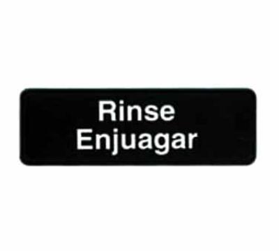 "Tablecraft 394552 3 x 9"" Sign, Rinse / Enjuagar, White On Black"