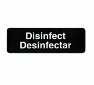 Tablecraft 394553 3 x 9-in Sign, Disinfect / Disinfectar, White On Black